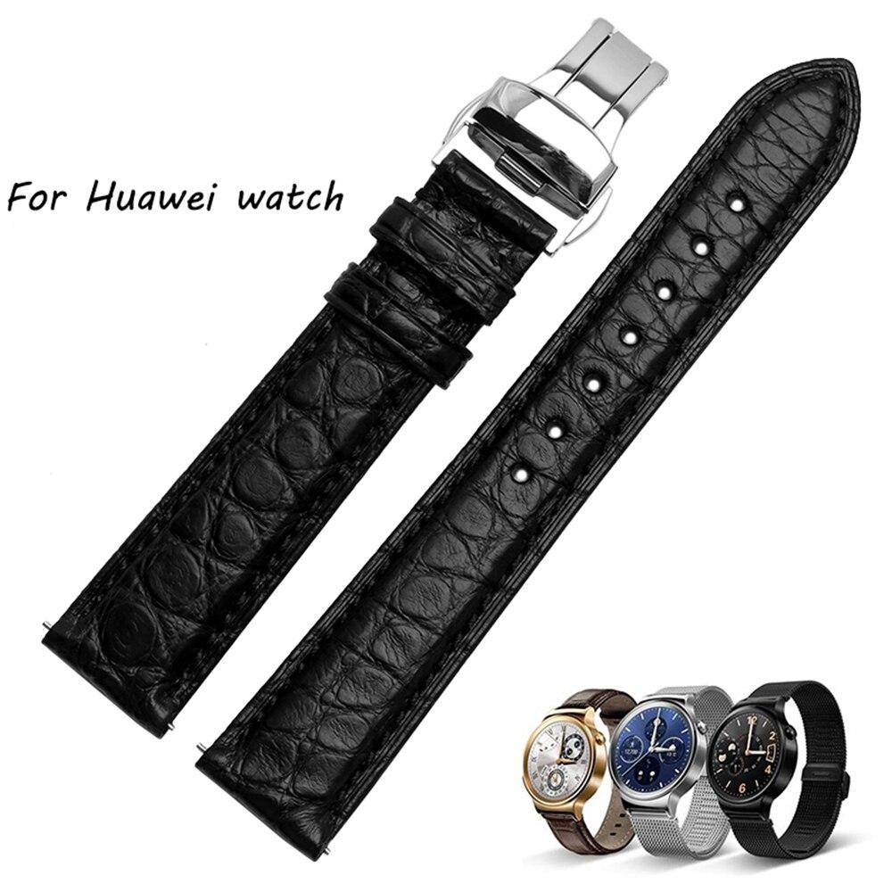 Bracelet de montre en peau de Crocodile de qualité 18mm pour Hauwei montre intelligente bracelet hommes noir accessoires de montre de luxe