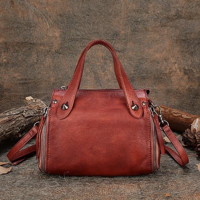 Vintage Genuine Leather Handmade Women Handbag Rivet Cow Leather Top Handle Shoulder Bag High Capacity  Female Messenger Bags