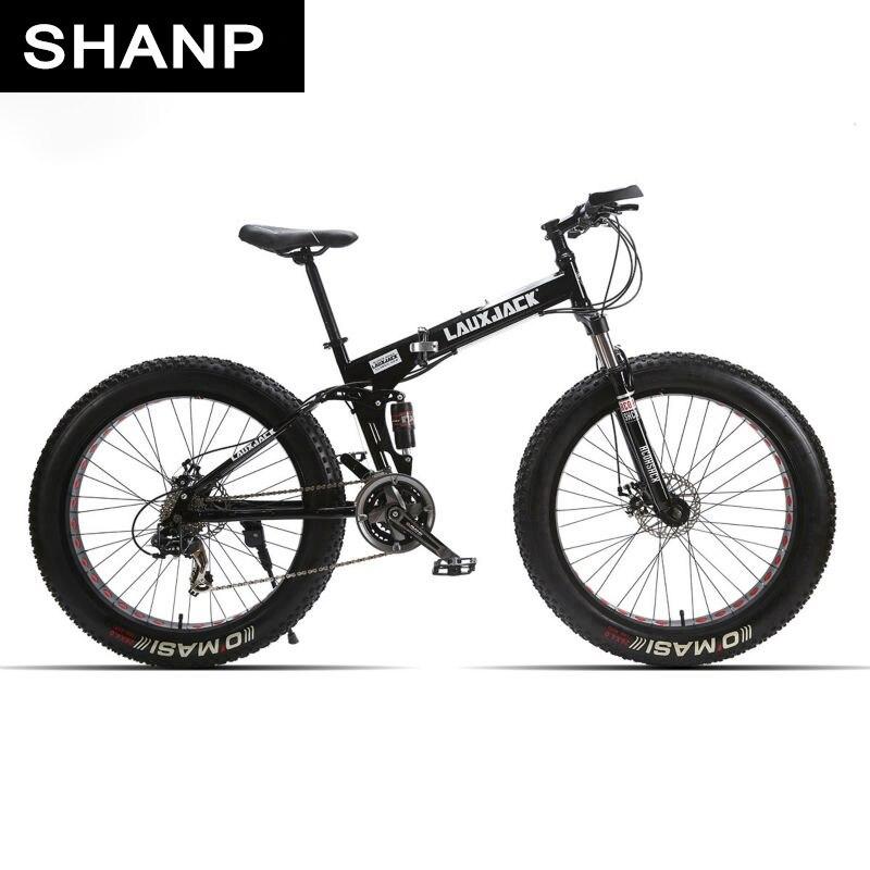 Lauxjack mining double layer bicycle steel folding frame 24 speeds shimano mechanical disc wheel disc brakes 26 x4.0 fat bike