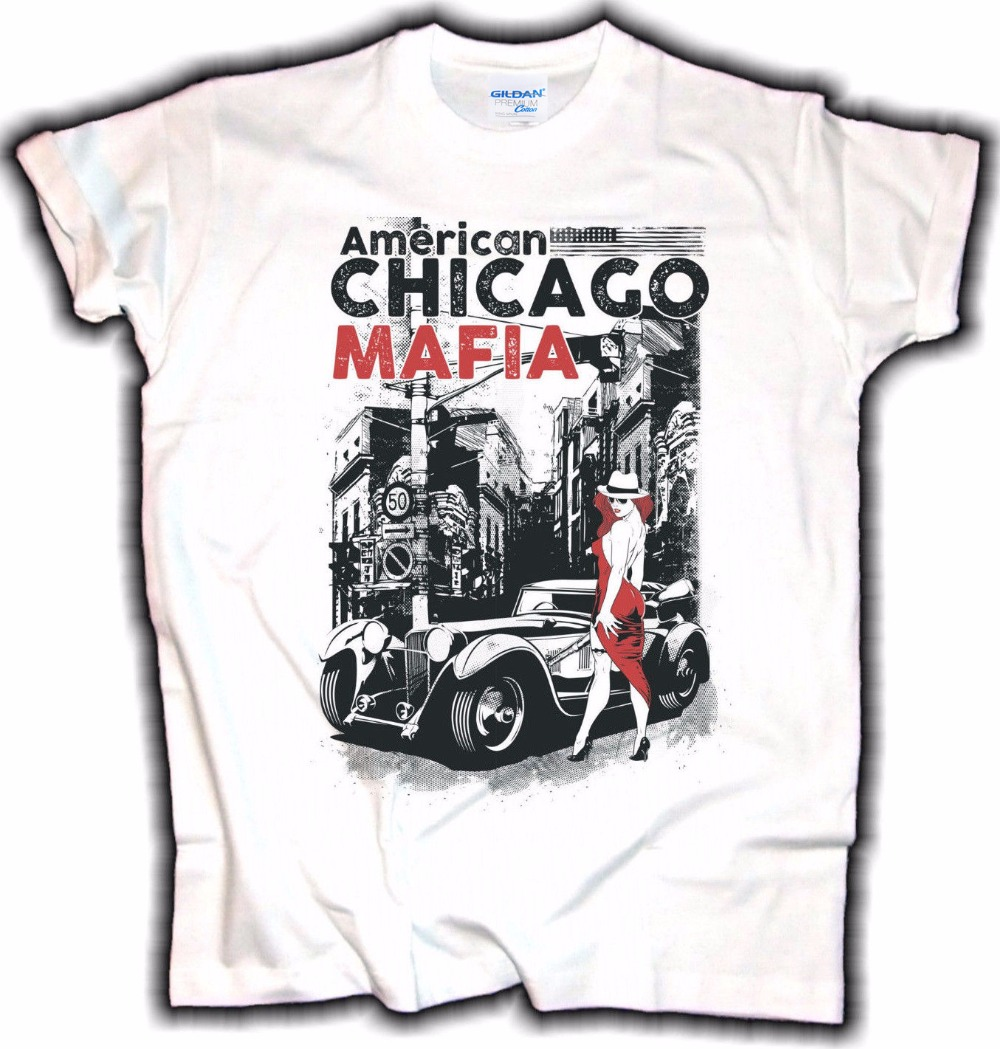 Men <font><b>T</b></font>-<font><b>Shirt</b></font> 2019 Fashion Casual O-Neck Male Tees American Mafia Chicago Old School Rockabilly USA Vintage Hot Rod <font><b>V8</b></font> <font><b>T</b></font> <font><b>shirt</b></font> image