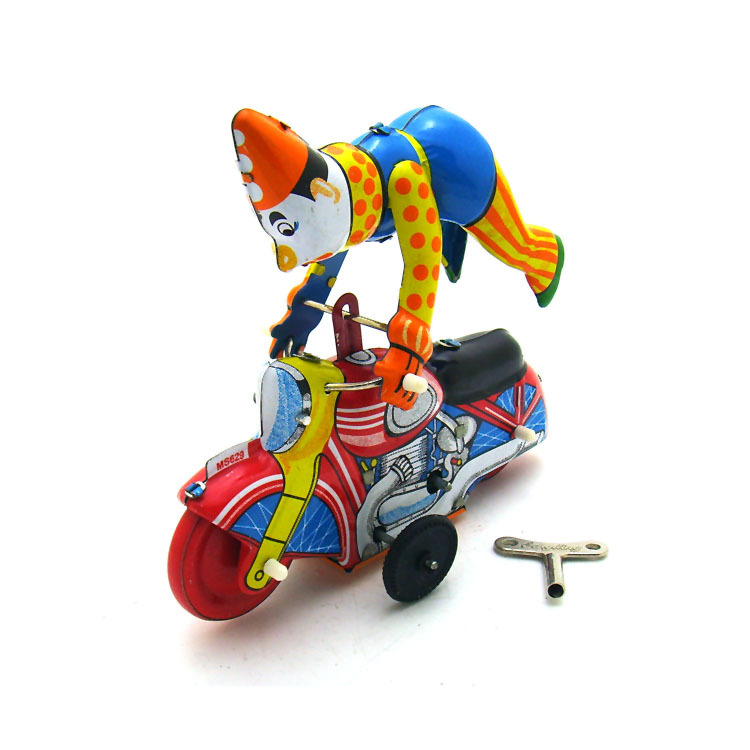 [Funny] Adult Collection Retro Wind Up Toy Metal Tin Clown On A Moroncycle Show Acrobatics Clockwork Toy Figures Vintage Toy