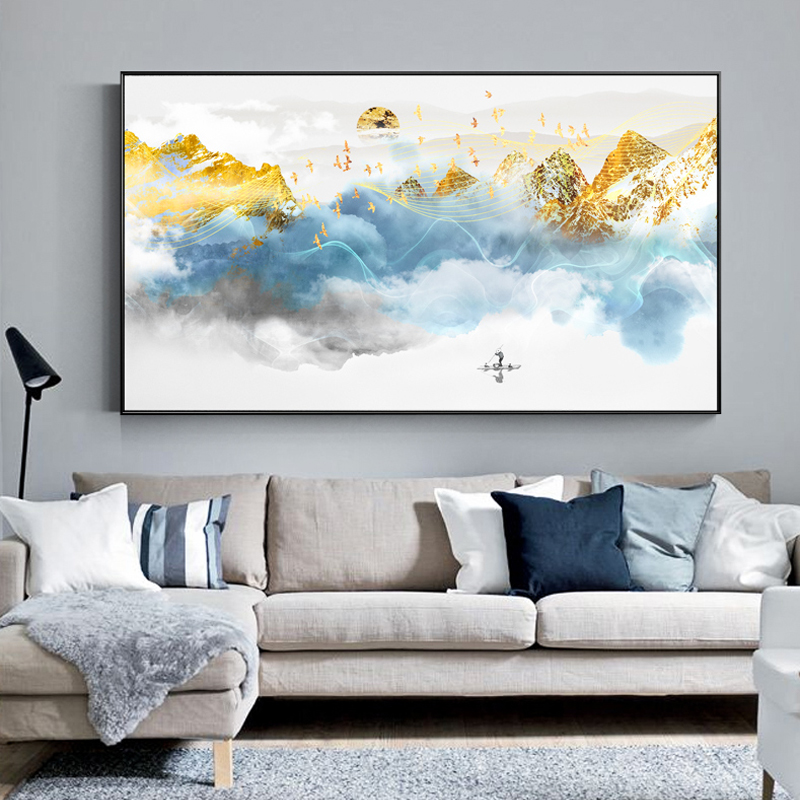 Abstract White and Gold Poster Print Landscape Cuadros Decoracion Modern Wall Pictures for Home Decoration for Home Decoration