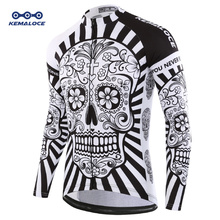 2019 Autumn Pro Long Sleeve Cycling Jersey Skull Retro Men Full Sleeve Cycles Shirt Wear Team Ropa De Ciclismo Long Bike Jersery