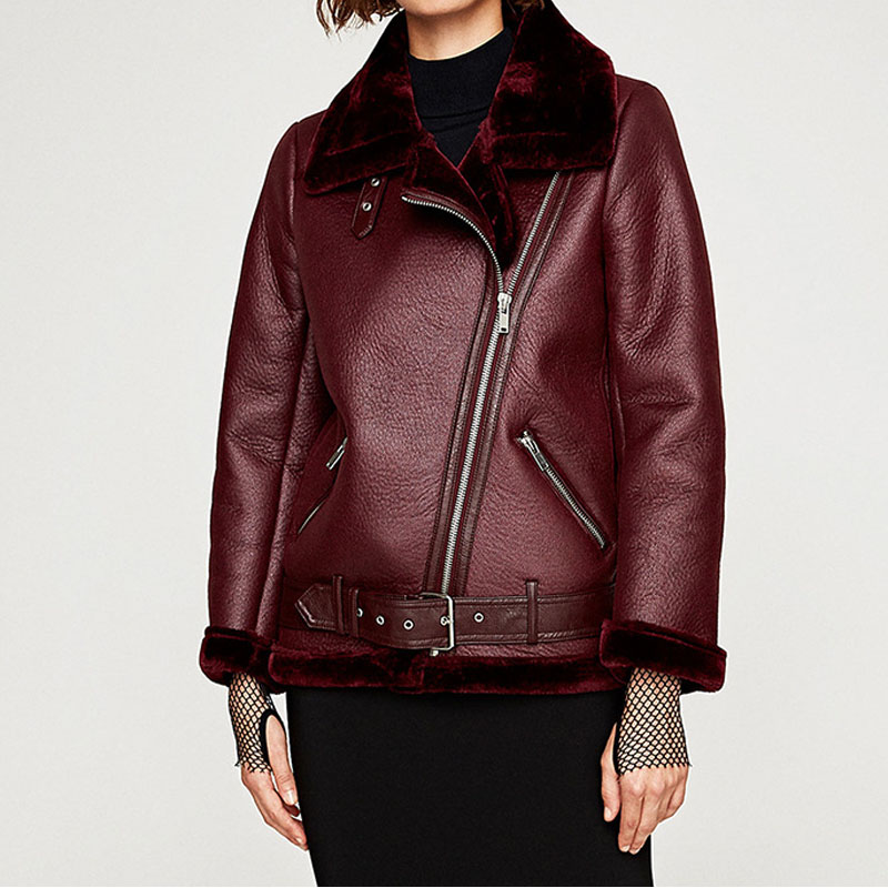 Winter Biker   Leather   Jacket for Women Warm Fur   Suede   Sheepskin Coat Lambswool Aviator   Leather   Jackets Shearling Jacket Outerwear
