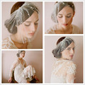 Vintage 2016 Short Wedding Veils Mini Birdcage Veil Beaded White Tulle Bridal Cap Veils Wedding Accessories ASAMJ03