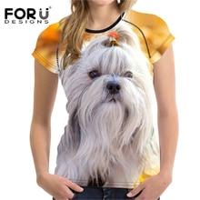 FORUDESIGNS T shirt Summer Women tshirt Top Kawaii t-shirt Teen Girl shih tzu Cute Female Pet Clothes tee shirts Plus Size