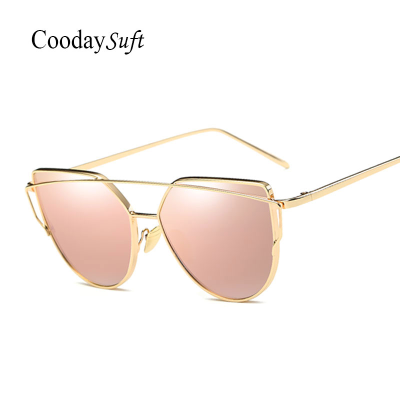 Coodaysuft Women Sunglasses New Cat Eye Brand Design Mirror Flat Rose Gold Vintage Cateye Fashion Sun