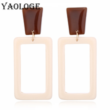 YAOLOGE Classic Square Acrylic Fashion Earrings Creative Geometric Personality Bohemian Style For Women Accessories New Products