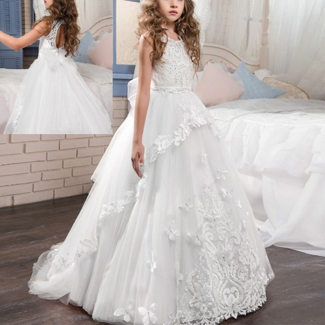 a3927109d8f65 US $55.99 20% OFF|White Wedding Bridesmaid Dresses Sleeveless Backless  Tulle Trailing Long Dress Vintage Embroidery Girls Party Princess Dress-in  ...