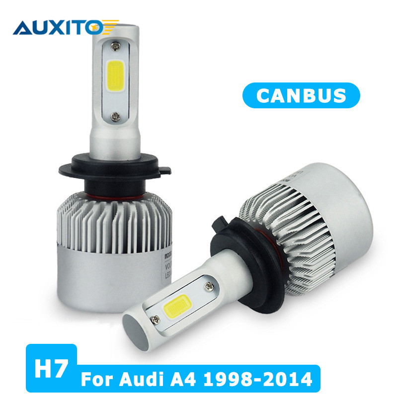 AUXITO H7 COB LED Headlight Automobiles Car LED Headlights Bulb Fog Light For Audi A4 B6 B8 B7 B5 S4 RS4 Sline Quattro 1998-2014