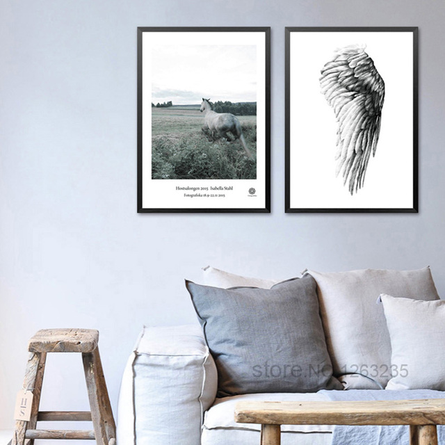 Angel Wings Wall Decor Horse Wall Art Canvas Painting Cuadros - Cuadros-decoracion