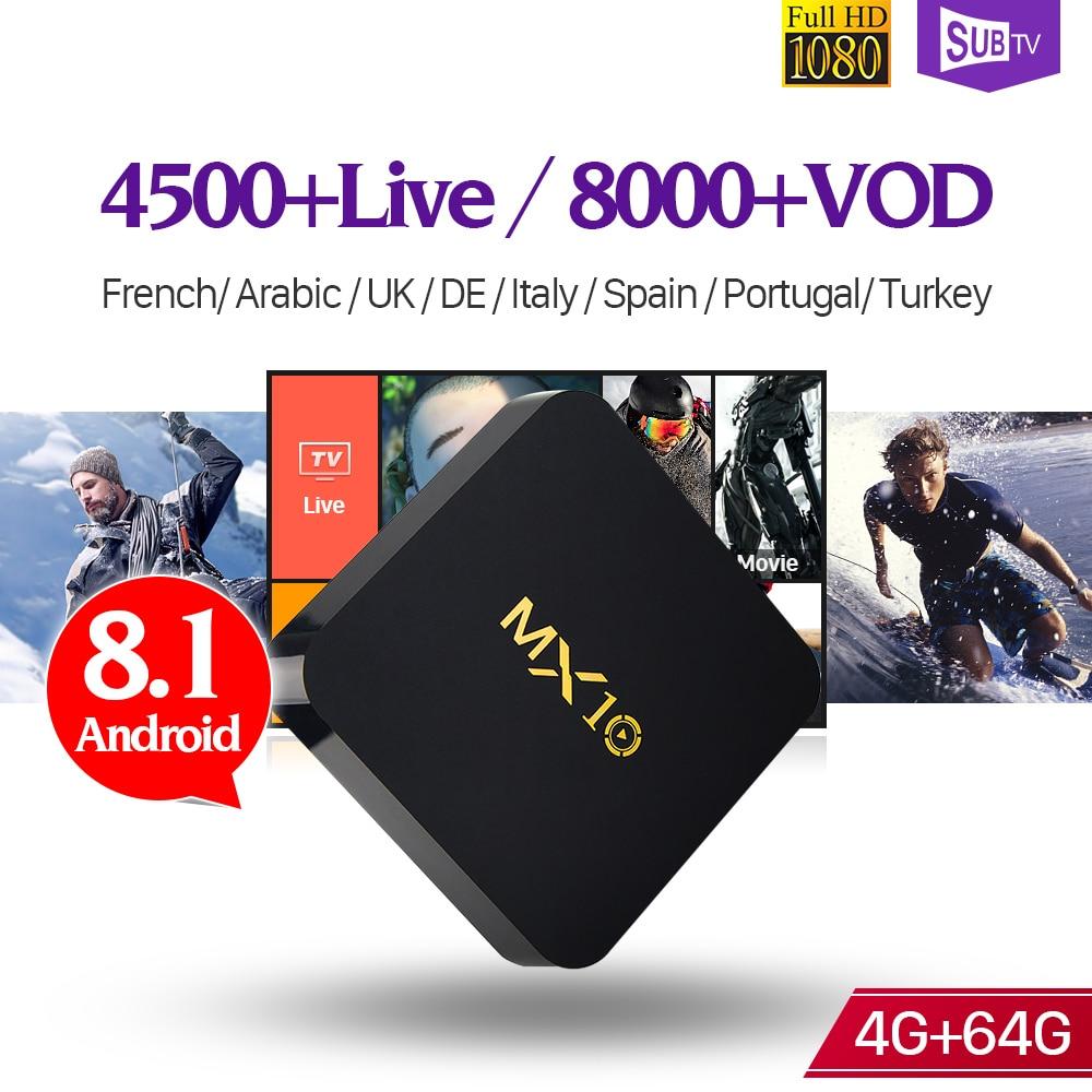 MX10 IPTV France Box 4K Android 8.1 RK3328 64GB 1 Year SUBTV Code IPTV France Arabic Spain Turkish Canada French IP TV Box