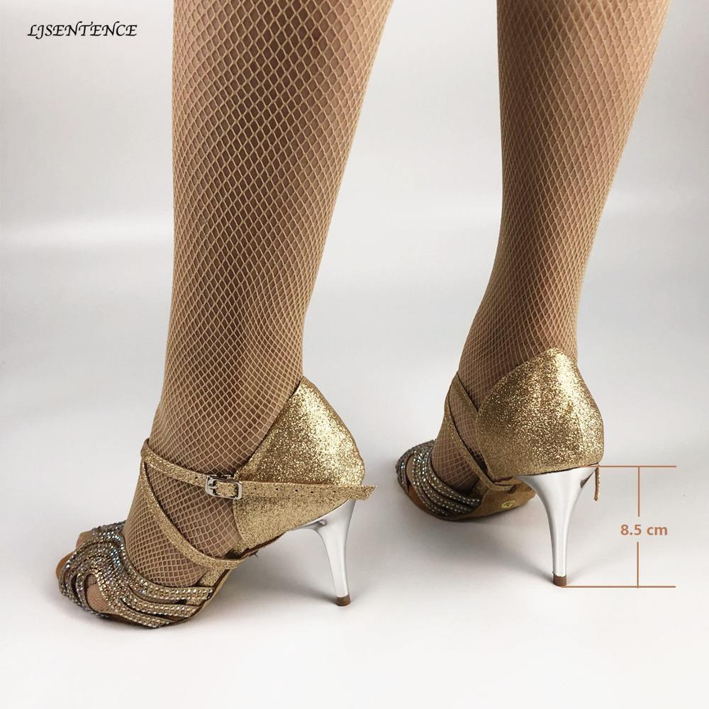 LJSENTENCE Salsa chaussures de danse femmes chaussures à talons hauts sandales 8.5 cm chaussures de fête femmes chaussures de danse latine marron brillant dames