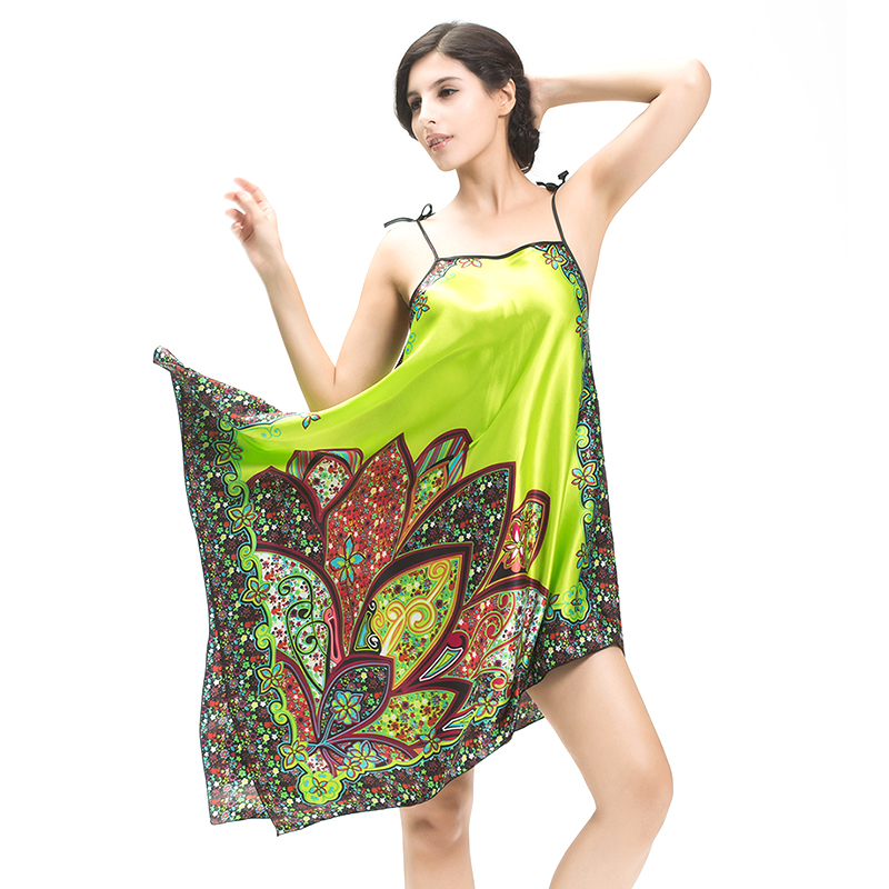 Women Nightgowns Sleepshirts 2017 Plus Size Silk Lady Sleepwear Dressing Gown Female Women's Sleepwear Home Clothing  JL05