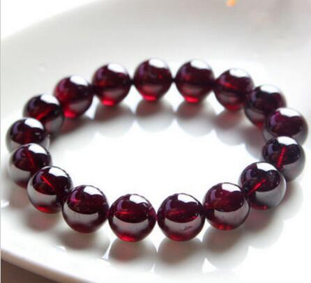 Natural 12mm Red Garnet Crystal RoundBeads Stretch Bracelet 7.5'' AAA