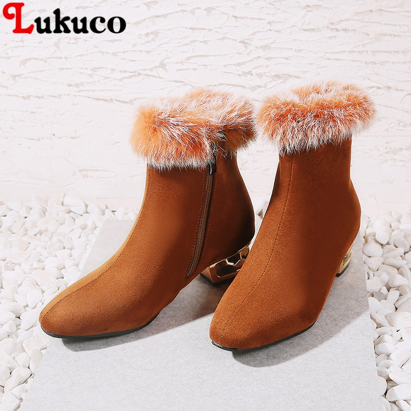 Lukuco Hot Sale New Arrival Winter Warm Botas Fur Boots Plus Big Size 43 44 45 46 47 48 High Quality Free Shipping Shoes Women plus size 43 44 45 46 47 48 new high quality pu pointed toe elegant women shoes sequined design spike heel pumps free shipping