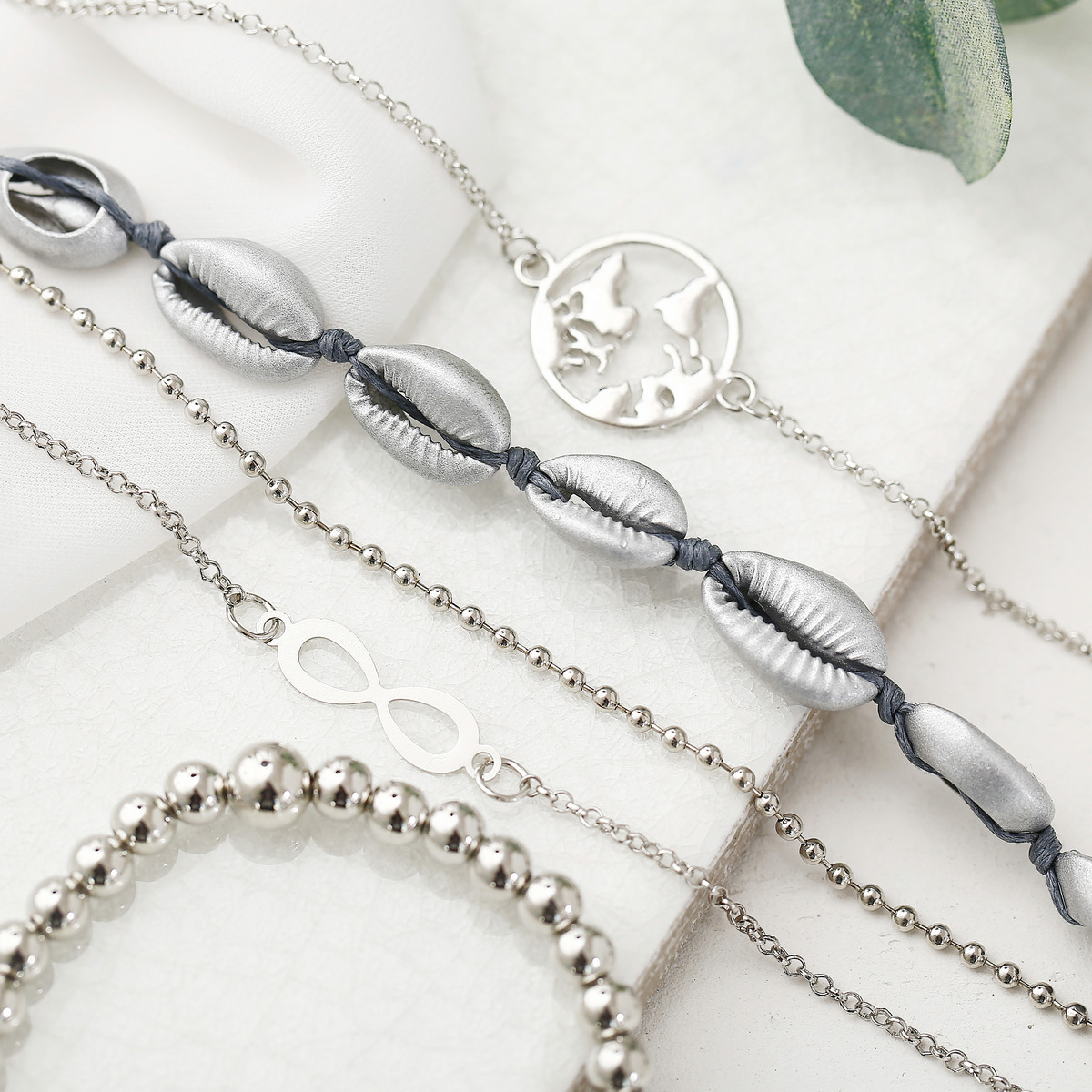 2019 New Bohemian Silver Chain Beads Bracelets Vintage Fashion Ocean Map Shell Bracelets Bangles Sets For Women Jewelry in Charm Bracelets from Jewelry Accessories