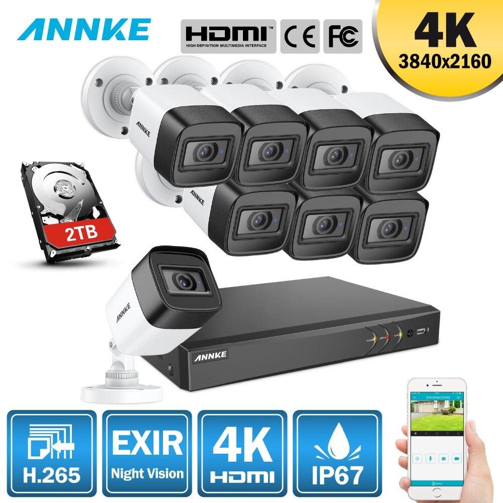 ANÃO 4 K Ultra HD 8CH 8MP H.265 + Câmera de CCTV Sistema de Segurança Kit DVR Sistema de CCTV IR Ao Ar Livre À Noite kits de Vigilância de Vídeo de visão