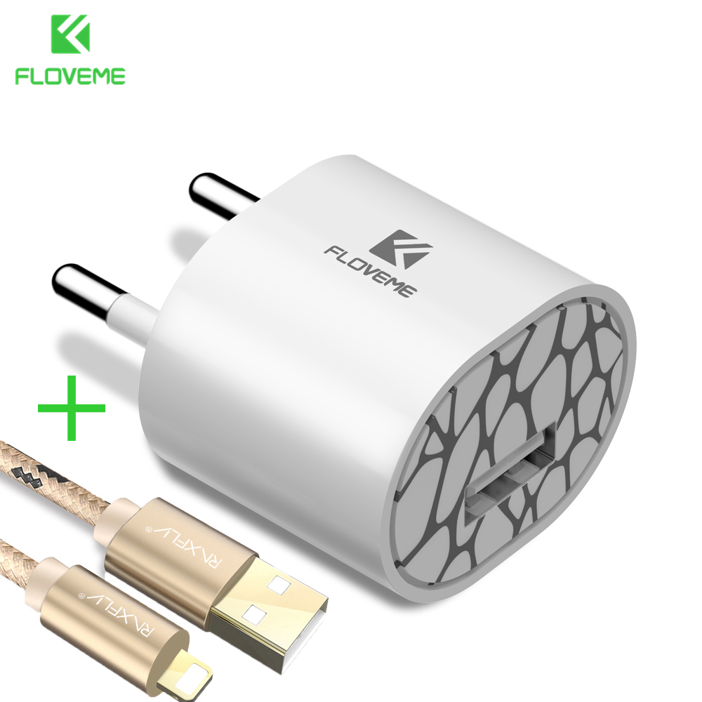 FLOVEME Mini Universal USB Charger Portable Travel Free USB Cable Fast Charger Adapter For iPhone 6 6s Plus 7 7 Plus 5 iPad Air