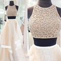 Vestidos De Formatura A Line Closed Back O Neck Beaded Two/2 Piece Long Women Party Gowns Beige Prom Dresses 2017 Ballkleider
