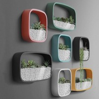 Modern Wall Vase Solid Color Round Square Rectangle Iron Art Hanging Bonsai Vases Artificial Plant Flower Holder Planter Decor