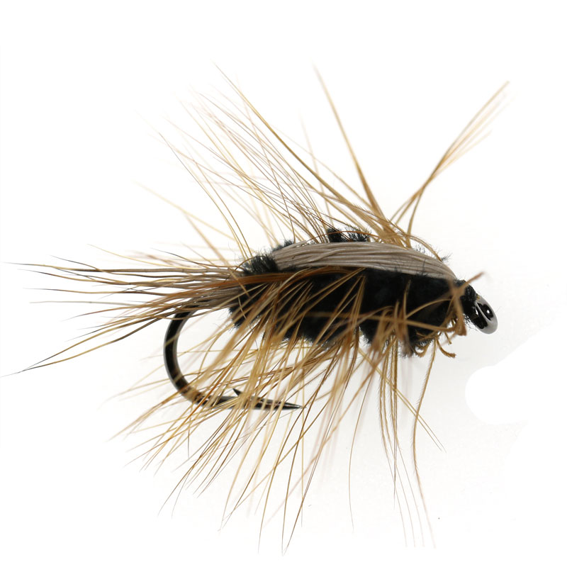 Fishing Faithful Icerio 8pcs Black Body Woolly Worm Brown Caddis Nymph Fly Deer Hair Beetle Trout Fly Fishing Fly Bait #6