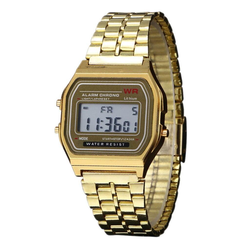 2016 Новый Винтаж Женщин Мужчины Часы Из Нержавеющей Стали Цифровой Сигнализации Секундомер Классический Серебро Золото Наручные Часы Мужчины