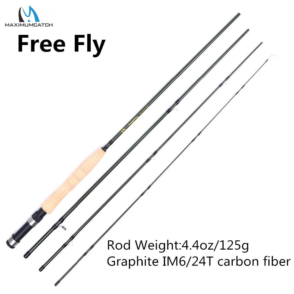 Maximumcatch New Free Fly 5WT 4Pieces 9ft Medium-fast Fly Fishing Rod Carbon Fiber Fly Rod