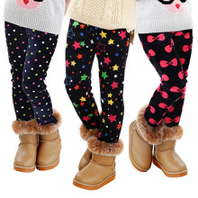 2016 High quality Winter Autumn KidsThick Warm Trousers Girls Leggings Pants Children Clothing Flower Butterfly Girls Pants