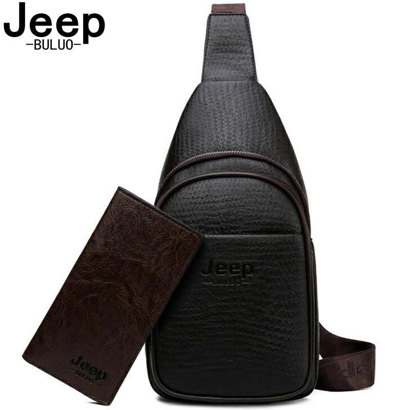 JEEP BULUO Brand Fashion Casual Male Sling Bags High Quality Leather Chest Bag For Young Man Crossbody Bags Travel Shoulder Bag