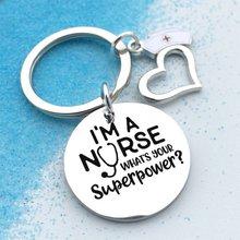 Chaveiro de aço inoxidável, chaveiro criativo eu sou enfermeira com pingente de coração fofo rn presente