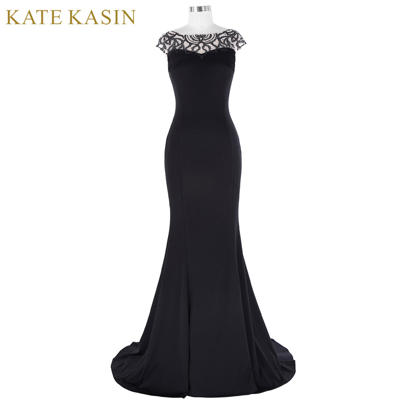 Kate Kasin Black Long Evening Dress 2018 Beaded Cap Sleeve Dress ...