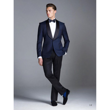 Custom made Blue Smoking Groom men suit Wedding Suits costume homme mens wear Tuxedos 3 Peices bridegroom suits(Jacket+Pants)