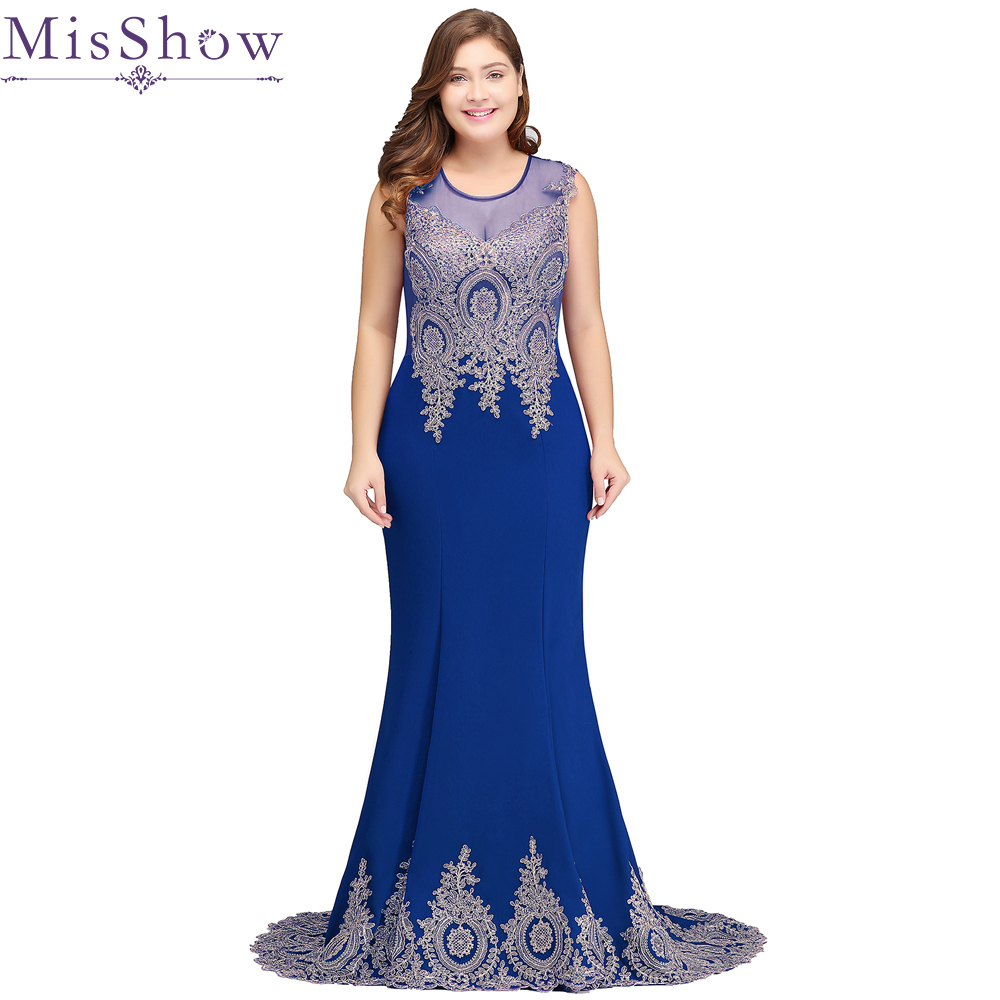 Us 57 97 43 Off Misshow Evening Dress Elegant Long Plus Size Mermaid Royal Blue Formal Gown Sexy Lace Applique Sleeveless Robe De Soiree 2020 In