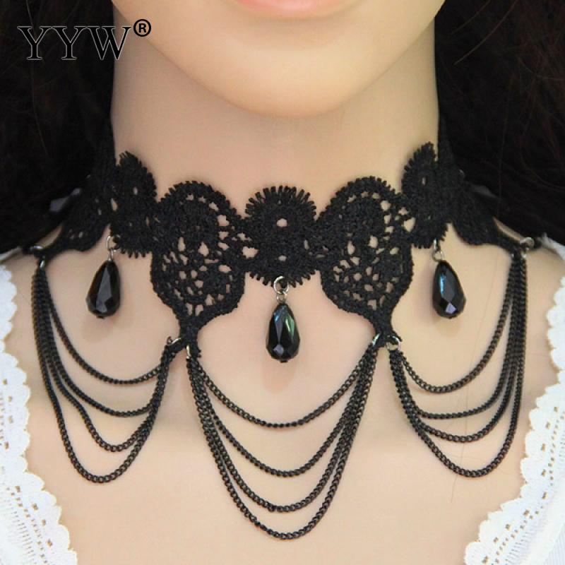Gothic Necklace Handmade Flower Lace Black Choker Women Necklace Collar Chain 36cm