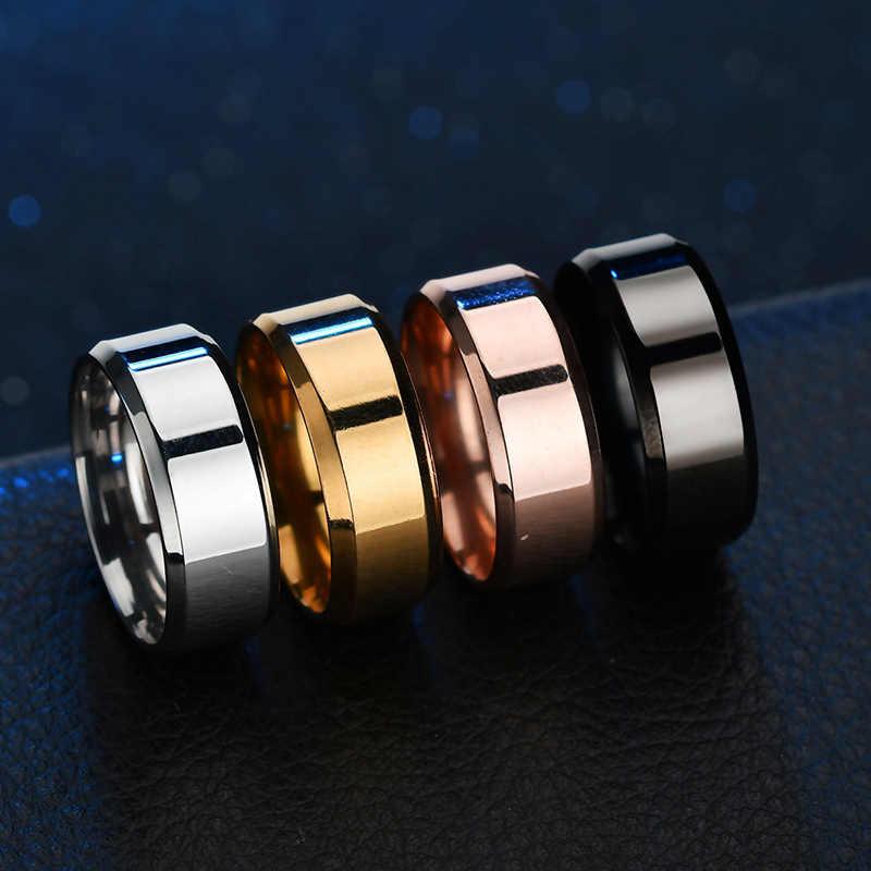 ELSEMODE Высокое качество титановые кольца из нержавеющей стали черный для мужчин Золотой Серебряный Синий многоцветный умный размер США 5-13