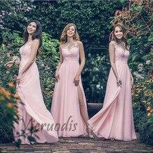 Hot Sale Sweetheart Sheer Neck A-Line Side Slit Long Lace Applique Chiffon Bridesmaid Dresses Cheap Court Train Gowns