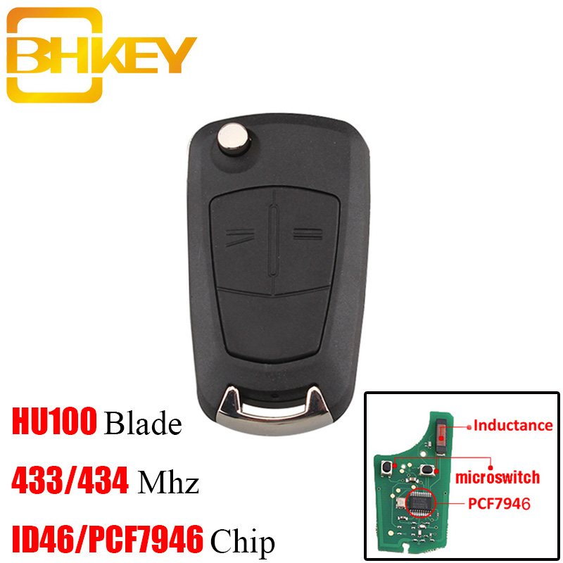 BHKEY Transponder Chip PCF7941/PCF7946 For <font><b>Opel</b></font> 433Mhz <font><b>Remote</b></font> <font><b>key</b></font> For Vauxhall <font><b>Opel</b></font> Astra H Zafira B 2005-2010 <font><b>remote</b></font> control image