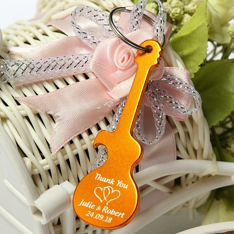 50x Personalized Wedding Party Favor Metal Guitar Bottle Opener Keychain Custom Guitar Shaped Bottle Opener Keyring