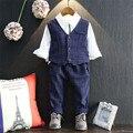 Быстрая Доставка Высокое Качество Детской Одежды Новый 2016 Корейская Мода Формальный Плед Жилет + брюки Baby Boy Одежда Осень и весна