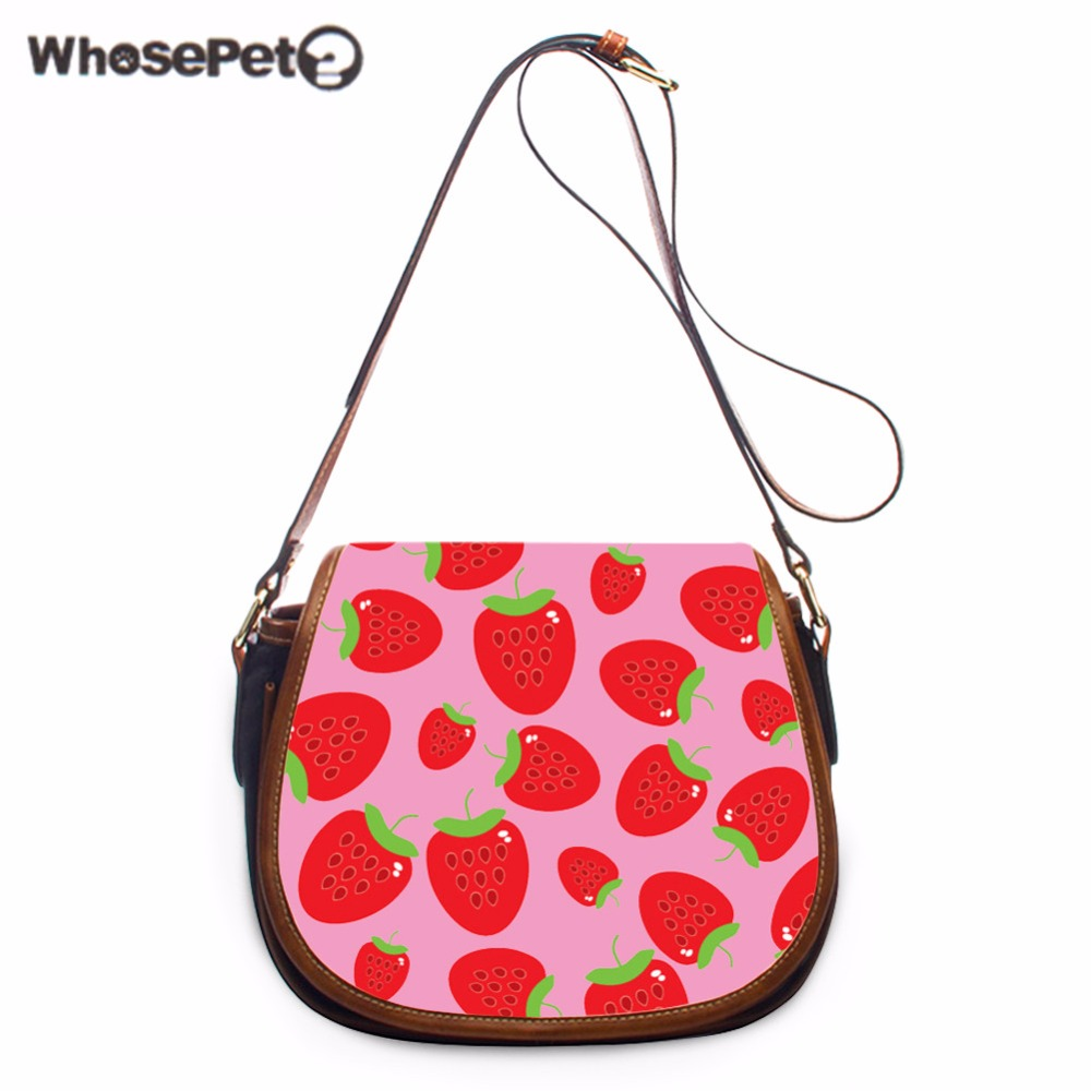 WHOSEPET Small Phone Coin Messenger Purse Strawberry Printing Ladies Purse Satchel Messenger Bags Pu Shoulder Bags Cute Bag Girl keyyou without blade 2 buttons car key shell remote fob cover case for renault dacia modus clio 3 twingo kangoo 2 with logo