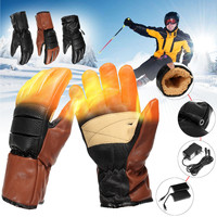 Winter Battery Heating Gloves PU Leather Rechargeable 3000mAh Mittens Inner Thicken Cotton Warm Electric Heated Gloves Women Men