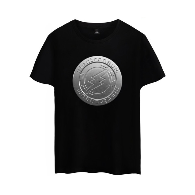 Electroneum Logo Print T-shirt Electroneum cryptocurrencies Cotton tee shirt Short Sleeve Sleeve Blockchain  Bitcoin clothes 4