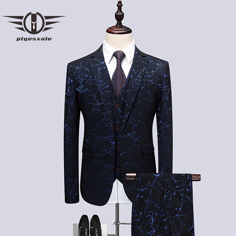 Plyesxale smoking de la boda trajes para hombres 3 unidades slim fit Hombre traje impreso marca 5XL 6XL fiesta etapa traje chaqueta pantalones chaleco Q495