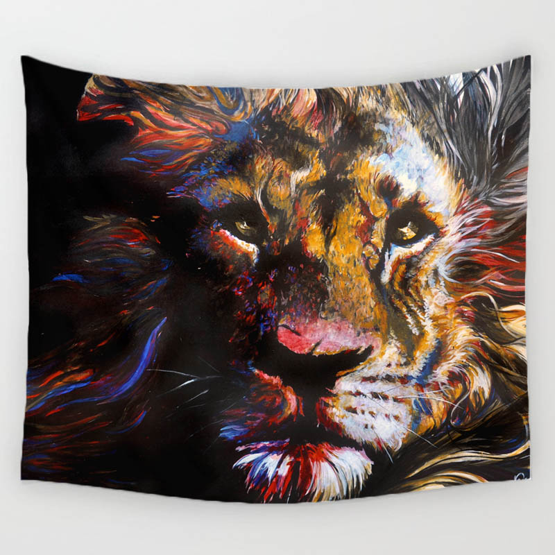 Comwarm 3D Lion Oil Painting Pattern Tapestry Lonely King Colorful Art Wall Hanging Gobelin Mural Yoga