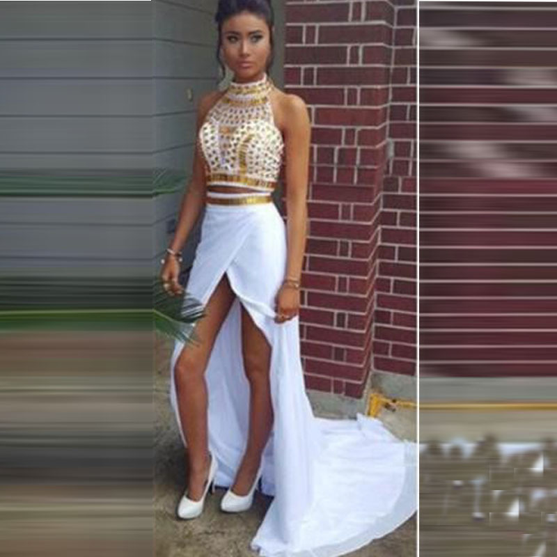 High Neck White And Gold Prom Dresses With Crystals A Line High Low