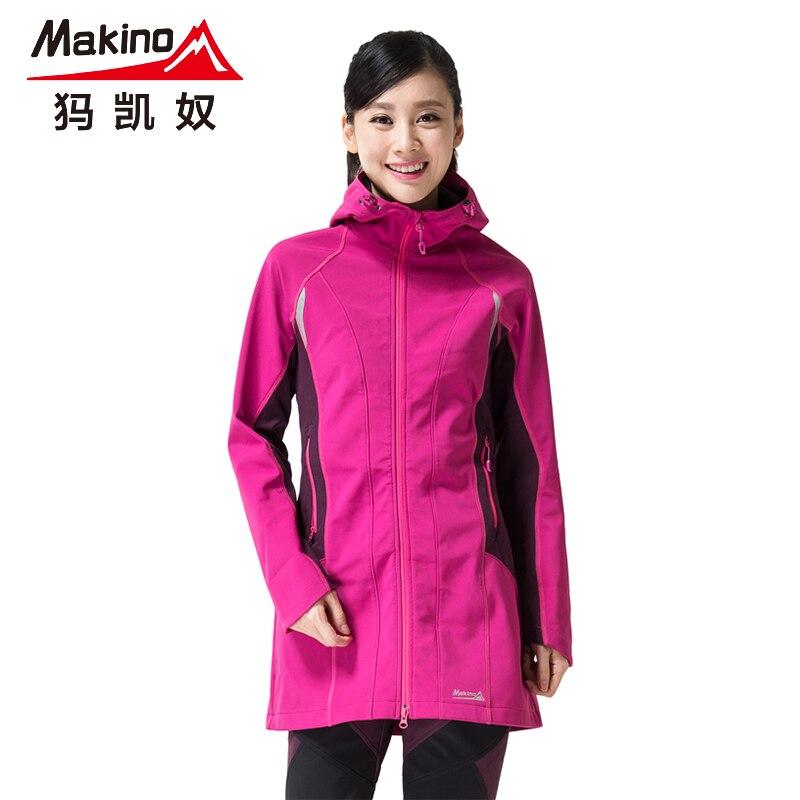 women long hiking coat softshell ful zip Windbreaker fleece Thermal Long coat outdoor waterproof windproof long jacket какую видеокамеру купить за 30000 70000 ful hd