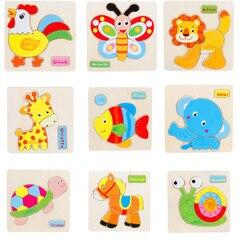 Bunte Holz Cartoon Tier Puzzle Spielzeug Kinder Baby Junge Mädchen Frühen Bildung Entwicklung Lernen Puzzles Spielzeug großhandel JE19 # FN
