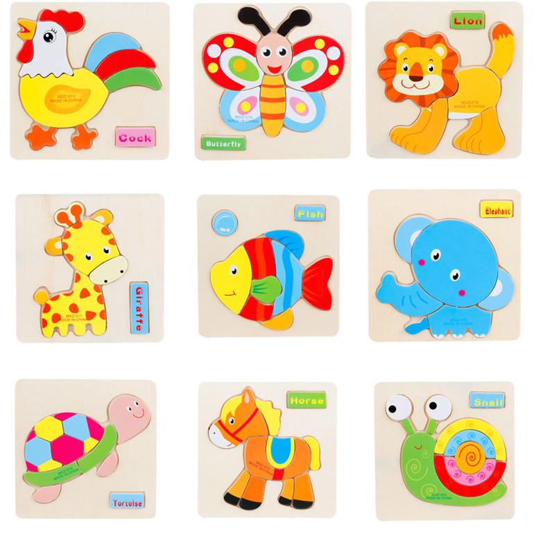 Colorful Wooden Cartoon Animal Jigsaw Toy Kids Baby Boy Girl Early Education Development Learning Puzzles Toy Wholesale Je19#fn #1