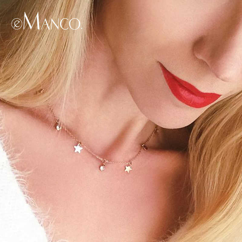 e-Manco Women Long Statement Necklace Gold Color Stainless Steel Chain Star Pendants Necklace Classic Fashion Jewelry